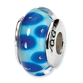 IceCarats Designer Jewelry Sterling Silver Reflections Blue Hand-Blown Glass Bead coupons 2015