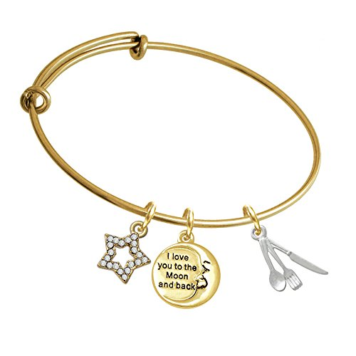Fork Knife And Spoon Gold Tone I Love You To The Moon Expandable Bangle Bracelet