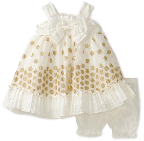 Nannette Baby-Girls Infant Taffeta Dress With Embroidery Overlay, Cream, 24 Months
