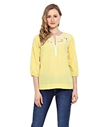 Saiesta Women's Yellow-White Cutwork Embroidered Top