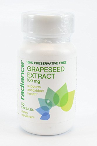 Radiance 100% Preservative Free Grapeseed Extract Capsules 100mg Supports Antioxidant Health 50 Capsules Dietary Supplement (Pycnogenol Grape Seed compare prices)