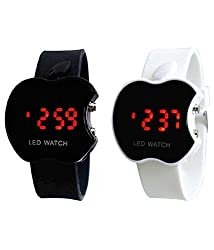 Fantasia Box Black & White LED Digital Dial Apple Shape Kids Watch Combo 2
