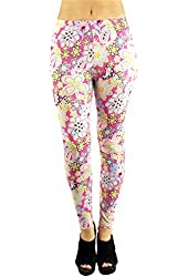Fun and Colorful Women's Floral Print Pattern Stretch Leggings