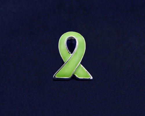 Lime Green Ribbon Pin - Silver Trim Tac (50 Pins)