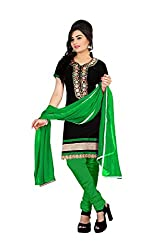 Rk The Fashion Women's Cotton Unstitched Dress Material (RK-FS-402_Black & Green_Free Size)
