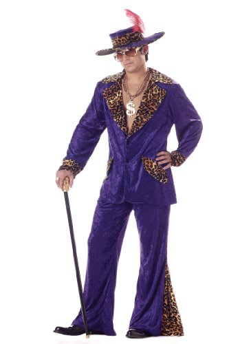Deluxe Purple Pimp Men's 1970s Fancy Dress Outfit 70s Adult