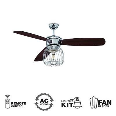"Ellington LAR54CH3, Lark Chrome 54"" Ceiling Fan with Light & Wall & Remote Control"