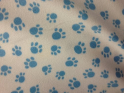 Baby Blue Paws On Ivory Fleece 58 Inch Wide Fabric By The Yard From The Fabric Exchange ® front-157258