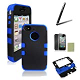 SQdeal® 3-PIECE HYBRID HIGH IMPACT HARD CASE FOR IPHONE 4 4S+STYLUS+F&B PROTECTOR (Blue&Black)