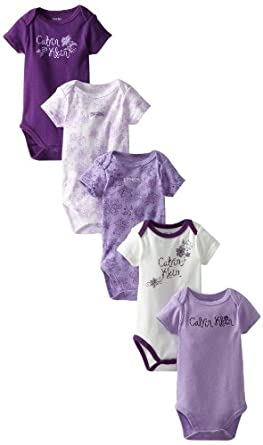 Calvin Klein BabyGirls Newborn 5 Pack Short Sleeve Bodysuit Group, Multi, 3/6 Months