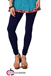 Women's solid Navy Cotton-Lycra Leggings/Churidars