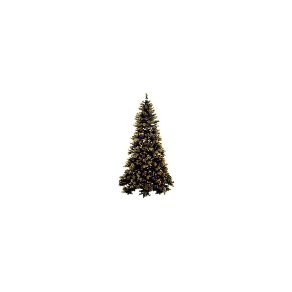 8.5 Pre Lit Black & Gold Artificial Christmas Tree   Clear Lights