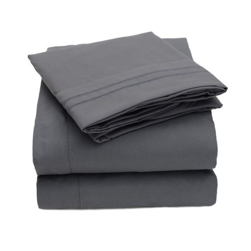 New 1500 Thread Count 4pc Bed Sheet Set Egyptian Quality Deep Pocket - King, Gray