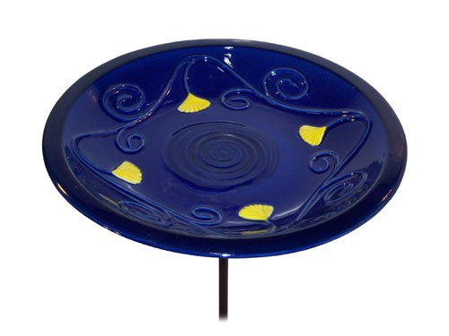 Lapis Ceramic Bird Bath Bowl and Stake Set