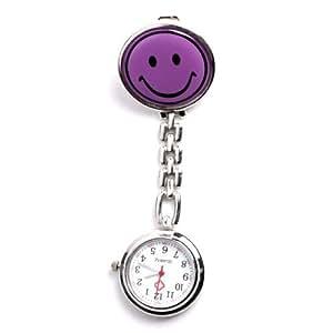 Yesurprise - Montre de poche Montre à gousset Portable Violet sourire Infirmière Montre avec clip Quartz Argent