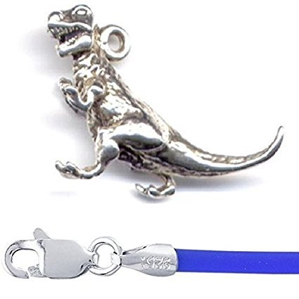 Sterling Silver 3D T Rex Dinosaur Charm with 16