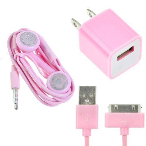Generic Ac Wall Charger Usb Data Cable 3.5Mm Earphone For Apple Iphone 4S 4 Ipod 36' Pink By Generic
