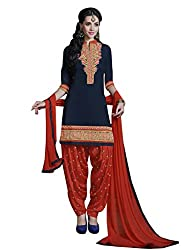 Cotton Patch Work Navy Blue Semi Stitched Patiala Suit