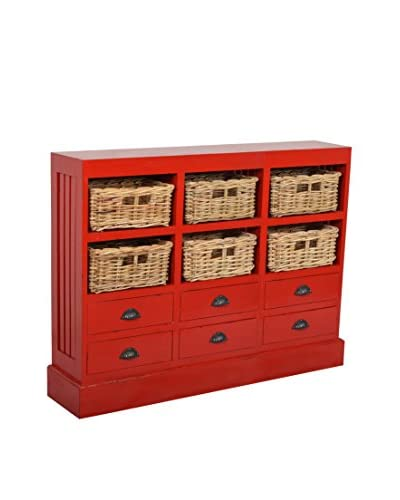 Jeffan Nantucket Storage Cabinet with 6 Baskets & 6 Drawers, Red