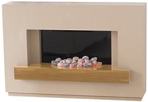 Adam Sambro Electric Fireplace Suite in Travertine with Oak Veneer Shelf, 2000 Watt from Fired Up Corporation Ltd