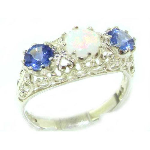 Quality Solid Sterling Silver Genuine Opal & Tanzanite English Filigree Trilogy Ring - Size 12 - Finger Sizes 5 to 12 Available - Suitable as an Anniversary ring, Engagement ring, Eternity ring, or Promise ring