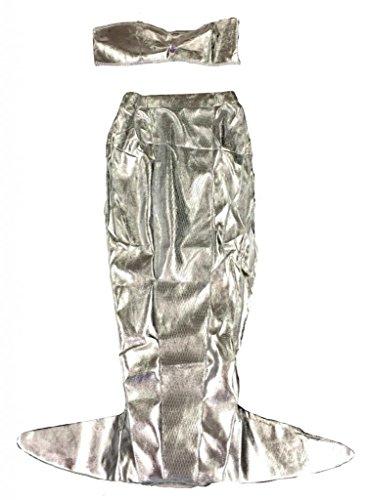 Mädchen 2-Teiliges Meerjungfrau Kostüm - Kinderkostüm - Silber - Gr. S (4-6 Jahre)