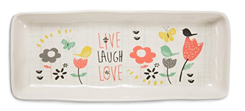 Pavilion Gift Company 74058 Live Laugh Love Ceramic Tray, 11 by 4.75