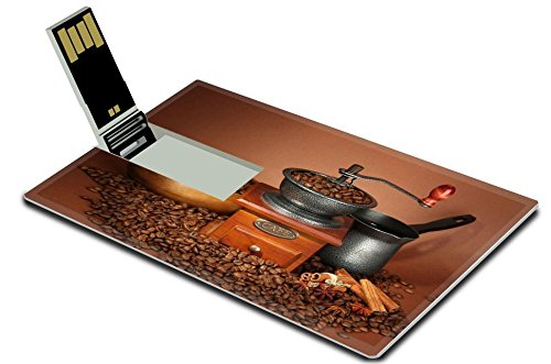 Liili 32GB USB Flash Drive 2.0 Memory Stick Credit Card Size Coffee grinder turk and coffee beans on brown background Photo 21033234 Simple Snap Carrying (Usb Coffee Grinder compare prices)