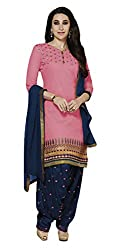 Sree Impex Women Heavy Cotton Semi Stitched Dress Material (SI-SK-44_Pink_Free Size)