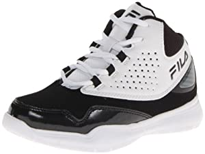 Fila Rim Attacker Basketball Sneaker (Little Kid/Big Kid),White/Black/Metallic Silver,1 M US Little Kid