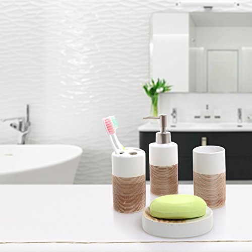 Deluxe 4 piece white beige ceramic bathroom set w soap for White bathroom tumbler