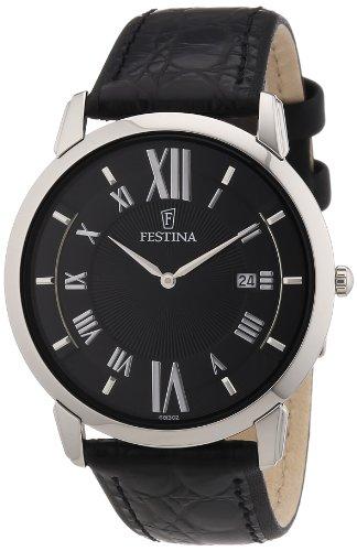 Festina F6813/2 - Reloj analógico de cuarzo para hombre con correa de piel, color negro