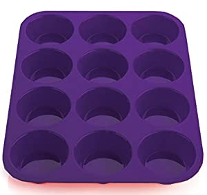 Premium Silicone Muffin Pan by Ecov-8, Non-Stick Bakeware - 100% Silicone Mold for Cupcakes, Muffins and Gourmet Desserts - Reusable Food Saver Covers - Microwave and Oven Safe - No Plastic Fillers (LFGB Approved) - Makes Baking a Joy!