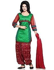 Utsav Fashion Women's Parrot Green Chanderi Brocade And Dupion Silk Jasmine Pant With Kameez-Medium