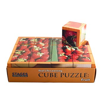 Wood Cube Puzzle - Fruits