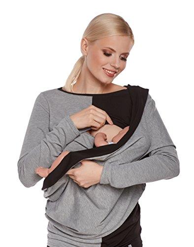 be-Mama-2in1-Stillschal-WRAP-SOUL-aus-Baumwolle-mit-kl-Tasche-fr-Stilleinlage-Stilltuch-fr-diskretes-Stillen-Halstuch-Wendeschal-grau-schwarz