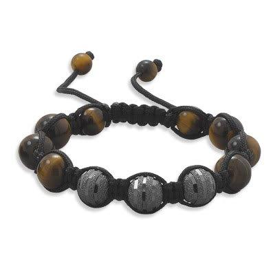 Adjustable Macrame Bracelet CZ and Tiger's Eye Beads