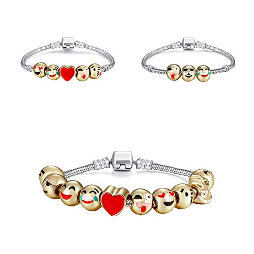 Genji Emoji Charms Bracelet 18K Gold Plated With 10 Pieces Enamel Emoji Faces