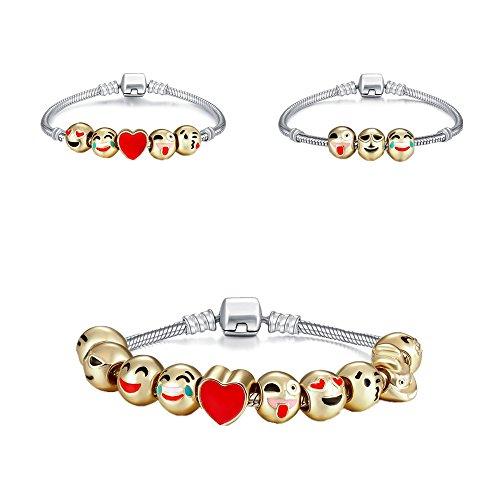 f5d6f3675 Genji Emoji Charms Bracelet 18K Gold Plated With 10 Pieces Enamel Emoji  Faces