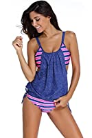 Dokotoo Womens Stripes Lined Up Double Up Tankini Top Bikini Swimwear by Dokotoo