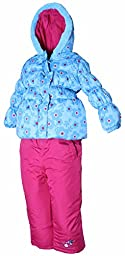 PINK PLATINUM Little Girls Toddler Floral Print Puffer Jacket & Snow Pants in Turquoise3T