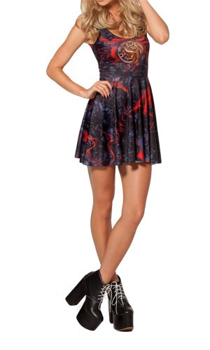 Women'S Pleated Knee-Length Team Targaryen Scoop Pattern Skater Dress