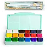 MIYA Gouache Paint Kit, 18 Colors x 30ml Paint Set & 10 Pieces Hog Bristle Paint Brushes, Unique Jelly Cup Design with Portable Case Gouache, Perfect for Oil, Acrylic Painting & More (Mint Green) (Color: Gouache & Pint Brushes Kit (Green))