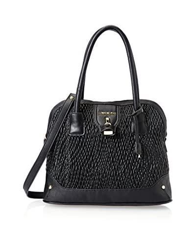London Fog Women's Lark Dome Satchel, Black Quilted