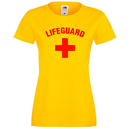Ladies Lifeguard + Yellow Baywatch Style T Shirt (2XL)