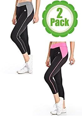 2 Pack Womens Workout Capri Pants-Leggings for Yoga and Running