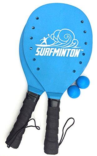 VIAHART Super Surfminton Premium Wooden Paddle Beach Tennis Game Kadima Smashball Set - 1