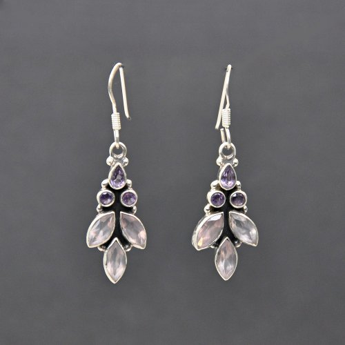 Franki Baker Amethyst & Rose Quartz Silver Drop Earrings