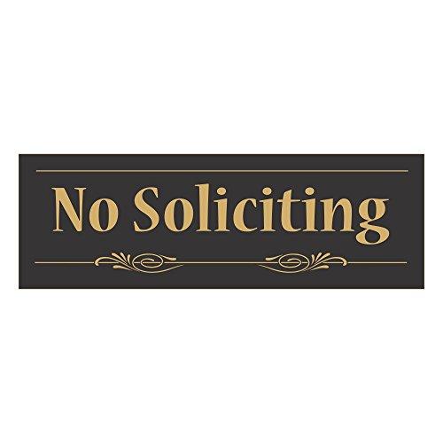 Decorative No Soliciting Sign (Black-Gold) - Small
