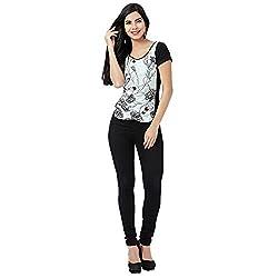 Eavan Women's Casual Wear Black Printed Slim Fit Top Blended Top